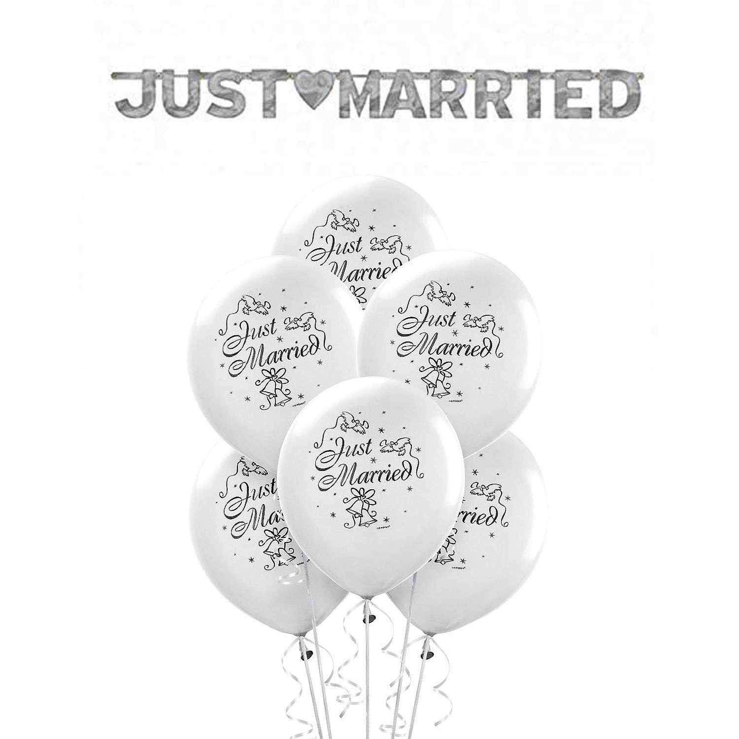 """Dove 12/"""" Printed Ivory Latex Balloons Pack of 25 Just Married"""
