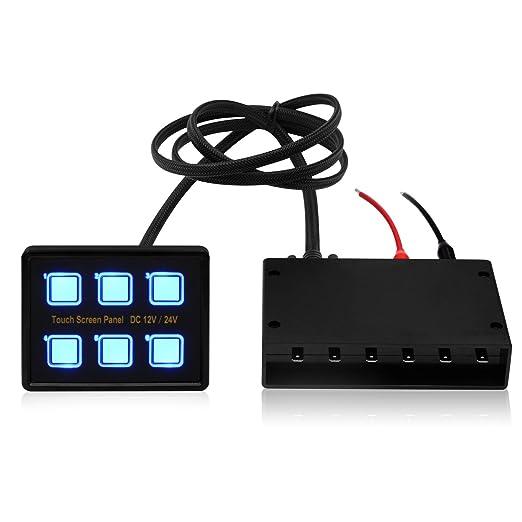 Samoleus 12V/24V 6 Gang Blaue LED Touch Schalter Touch Control Panel ...