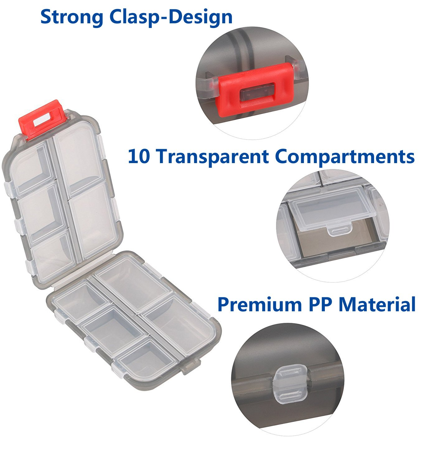 Yeeho Pill Case (3 Pack) - Portable Small Supplements Tablet Container Box with 10 Compartments - Medicine Capsule Vitamin Fold Flip Organizer Dispenser Holder Storage for Travel Trip Pocket Purse by YEEHO (Image #6)