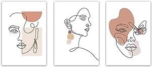 Minimalist Line Art Prints Set of 3 - By Sunset Design Co | Minimalist Home Decor | Minimalist Wall Art | Aesthetic Wall Decor | Line Art Wall Decor | Minimal Wall Art | Drawing Poster | (Unframed 8x10)