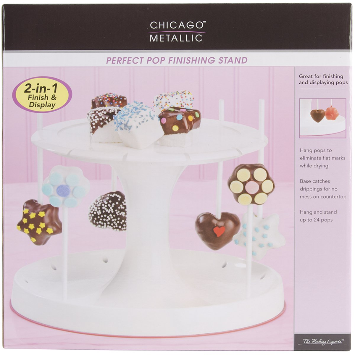 Chicago Metallic CMB057 Marshmallow Collection Perfect Cake Pop Finishing Tree Stand, Holds upto 24 Sticks, White