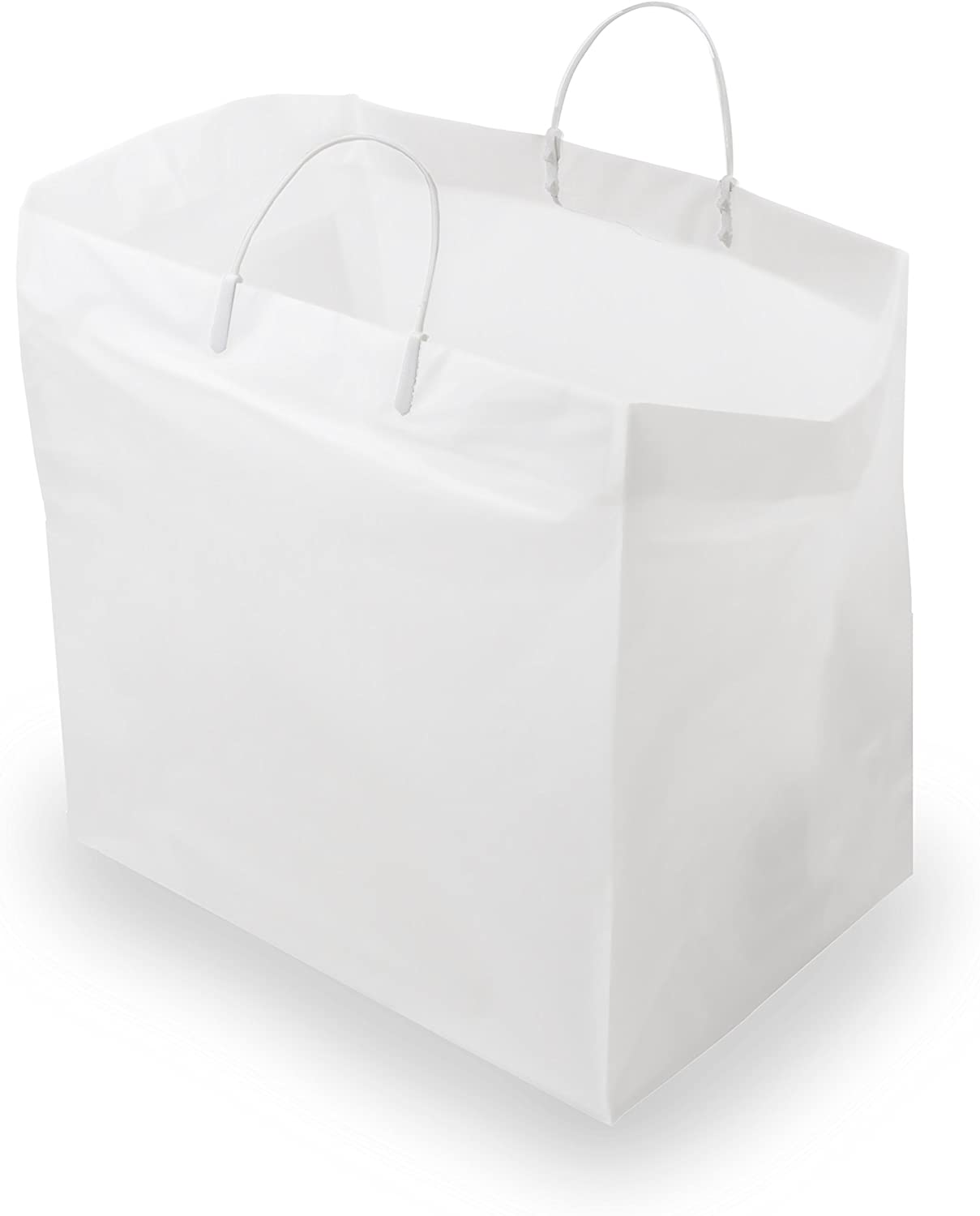 Thick White Plastic Shopping Bags With Handles & Cardboard Bottom, Merchandise Bags, Food Service Bags, Take Out Bags, Gift Bags Bulk (14x10x14.75 200 Pcs)