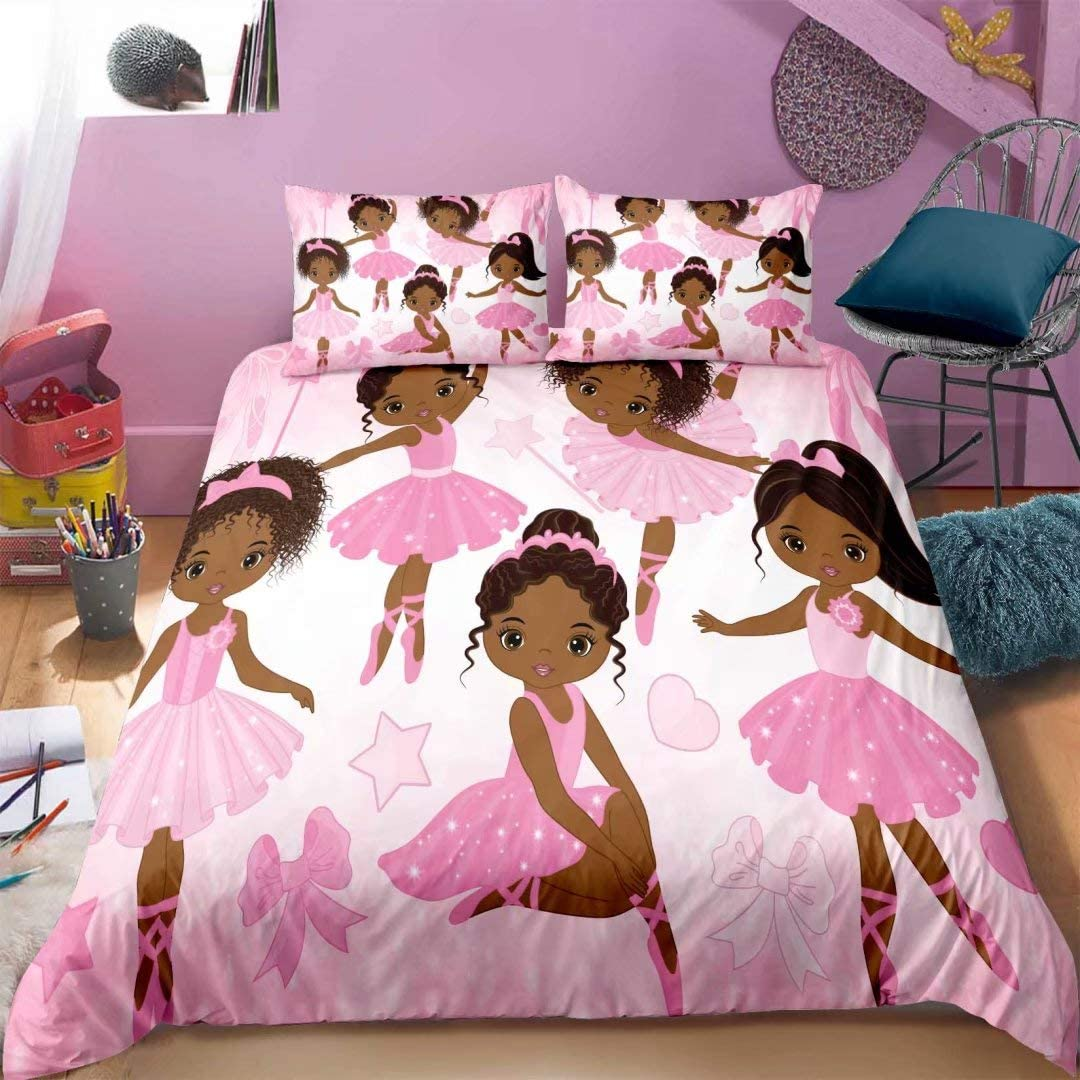 Girls Pink Princess Ballerina Bedding Duvet Cover Set Twin, African American Black Girl Comforter Cover Set, Cute Little Ballet Bed Cover Set for Kids Toddler with 1 Pillowcase