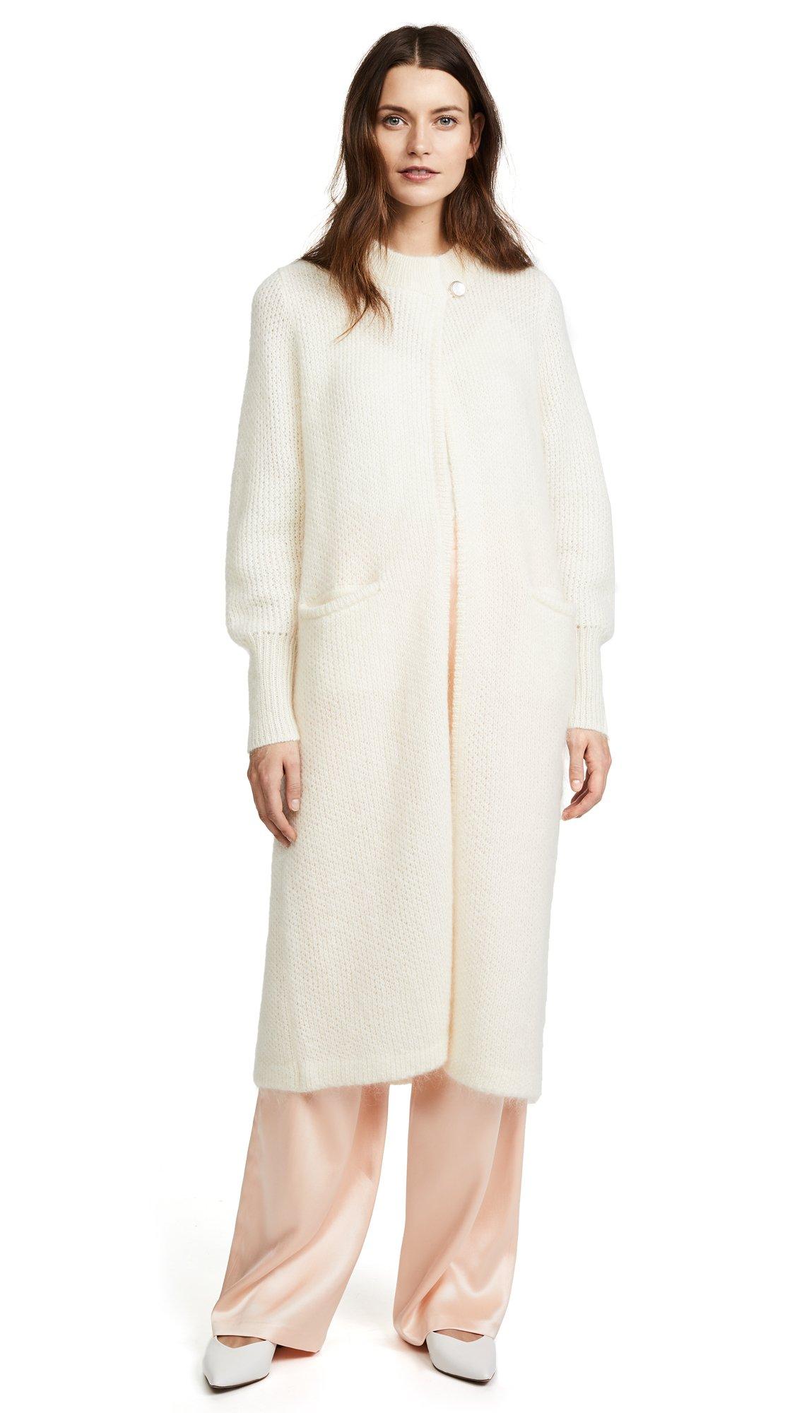 TEMPERLEY London Women's Dawn Knit Cocoon Coat, Ivory, X-Large