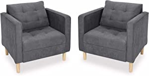 STHOUYN Mid Century Modern Upholstered Fabric Accent Chair with Arms Set of 2 Armchair Comfy Reading Chair for Living Room Studio Office Couch, Single Sofa Set Bedroom Grey