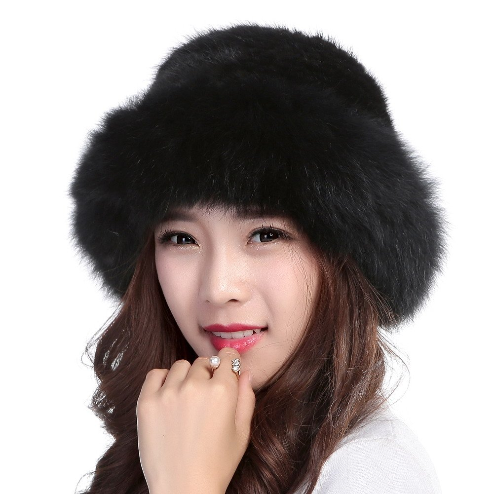 Valpeak Womens Winter Hat Knitted Mink Real Fur Hats with Fox Brim (Black) by Valpeak