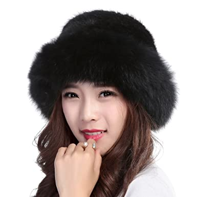Valpeak Womens Winter Hat Knitted Mink Real Fur Hats with Fox Brim (Black) b25cd448f95