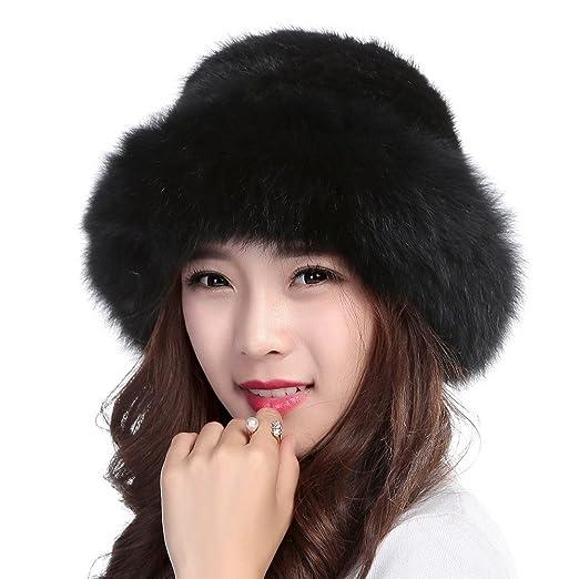 09cea381a99 Valpeak Womens Winter Hat Knitted Mink Real Fur Hats with Fox Brim (Black)