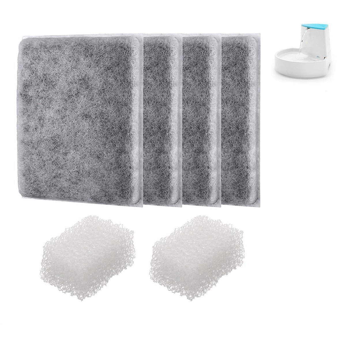 isYoung 4 Pack Corner Pet Fountain Premium Activated Carbon Filters Pet Fountain Replacement Filters