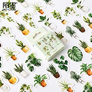 Mini Size Laptop Stickers, 45pcs Doraking DIY Decoration Green Plants Stickers for Laptop Planners Scrapbook Suitcase Diary Notebooks Album, Dimension Less 44mm Including Repeat(Green Life)