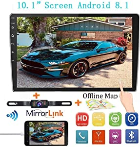 """Double Din Car Stereo Radio Receiver, 10.1"""" 2.5D Curved HD Touch Screen Head Unit Multimedia Player, Support Rear View Camera&Android iOS Mirror Link Dual USB Input+License Plate Camera"""