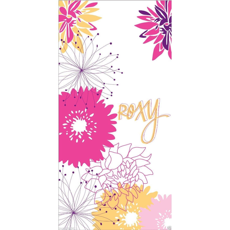 Roxy - Toalla de playa de terciopelo Diseño floral chica/mujer/señora - Verano/Vacaciones (75cm x 150cm/Blanco/Rosa): Amazon.es: Hogar