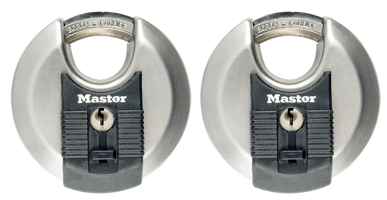 MASTER LOCK - 2er Set Disc-Schlö sser mit Schlü ssel fü r Auß enbereich, Hochsicherheitsschlö sser mit hoher Korrosionsbestä ndigkeit, 70 mm M40EURT