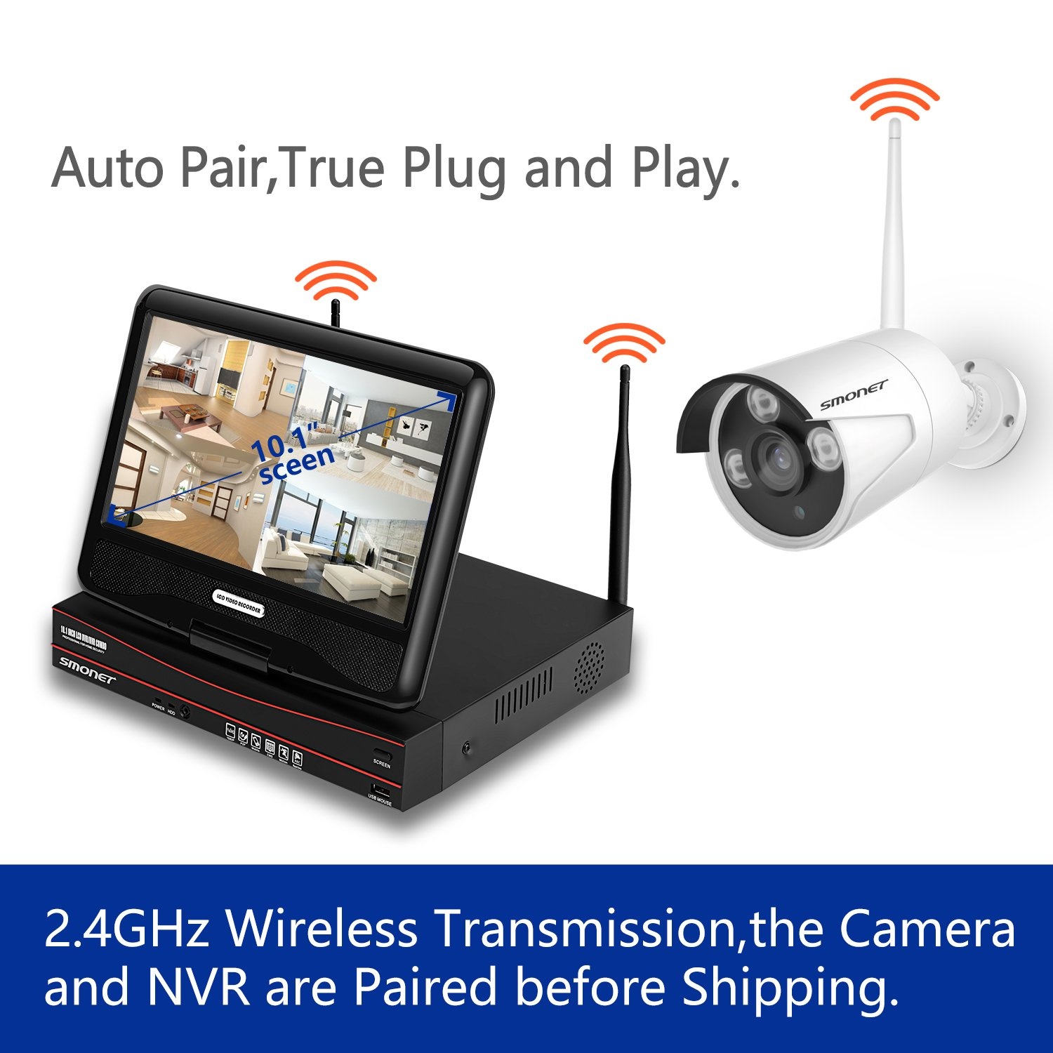 4pcs 2.0MP Outdoor/&Indoor Security Cameras,P2P Home Security Camera System 1TB Hard Drive 【2019 NEW】1080P Security Camera System Wireless,SMONET 8-Channel H.264+ Wireless Surveillance Camera System
