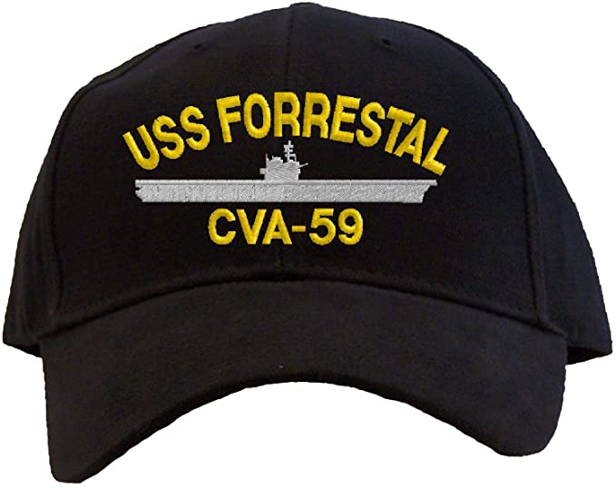 USS Forrestal CVA-59 Embroidered Baseball Cap - Black at Amazon ... 371cbd4408e