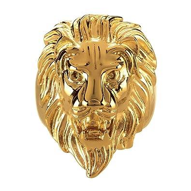 5741d62c305f BOBIJOO Jewelry - Anillo Anillo Anillo de Hombre de Cabeza de León Gitana  Gitana Circo Chapado en Oro de Acero de Plata-Tono  Amazon.es  Joyería