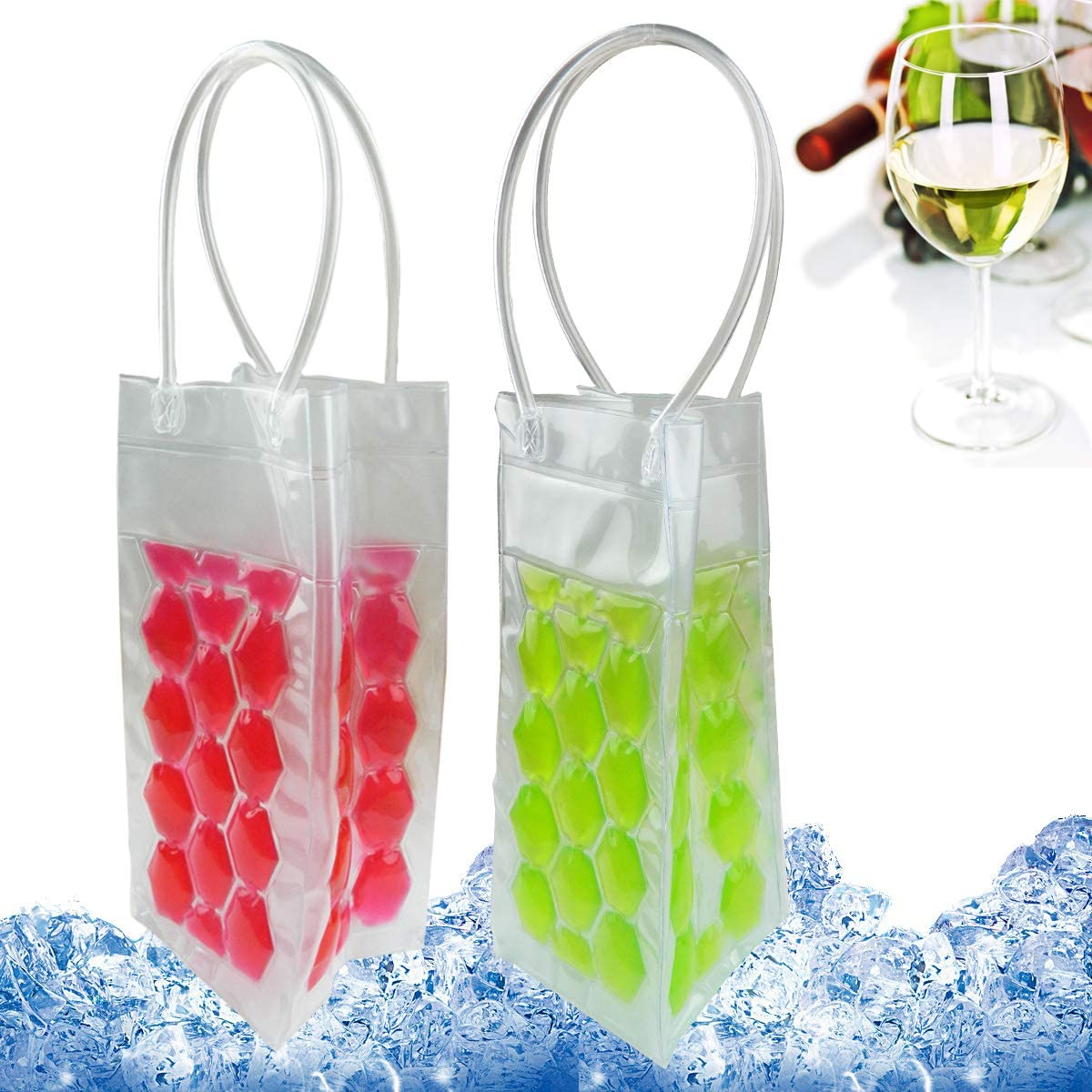 Transparent PVC Wine Cool Ice Bag Beer Cooler Champagne Bucket Chiller Freezable