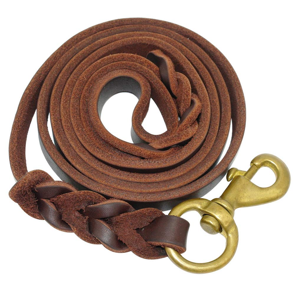 Brown 12mm x 265cm Brown 12mm x 265cm CAOBOO Pet Dog Leash Braided Leather Dog Leash Pet K9 Walking Training Leash Lead for Medium Large Dogs German Shepherd Gift Dog Training Clicker Brown 12mm x 265cm