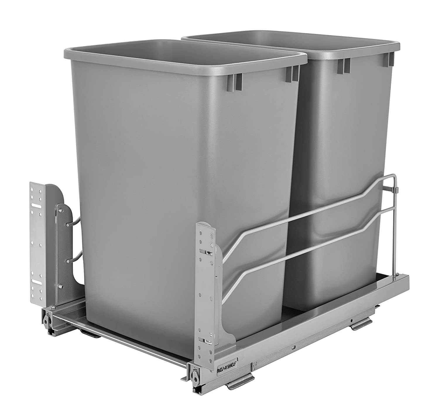 Rev-A-Shelf 53WC-1835SCDM-217-Double 35 quart Pull-Out Silver Waste Container with Soft-Close Slides, Silver Metallic
