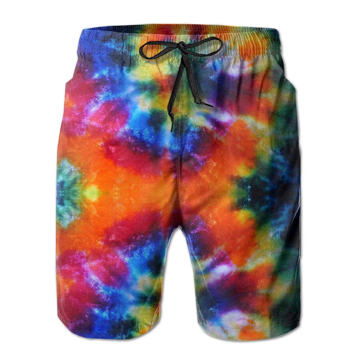 Mens Quick Dry Swim Trunks Tie-Dye Board Shorts with Mesh Lining