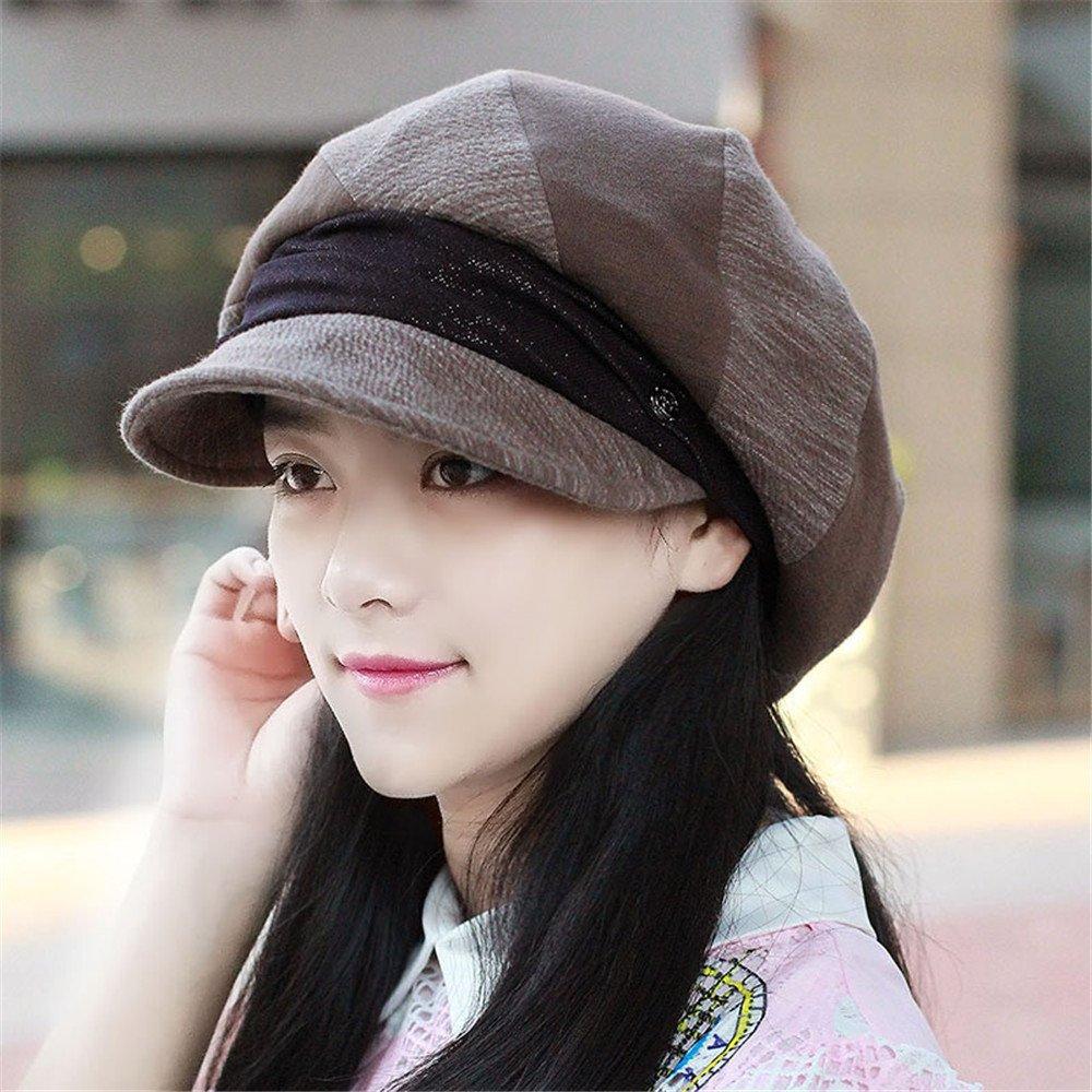 Las mujeres señoras sombrero tapa plegable cuatro dama boina tapa octogonal moda otoño hat gorra aju...