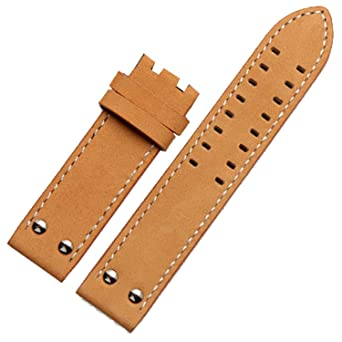 f79c15140 Amazon.com: New 22mm Leather Watch Strap Band Pilot Style Compatible for  Khaki Aviation (Beige): Watches