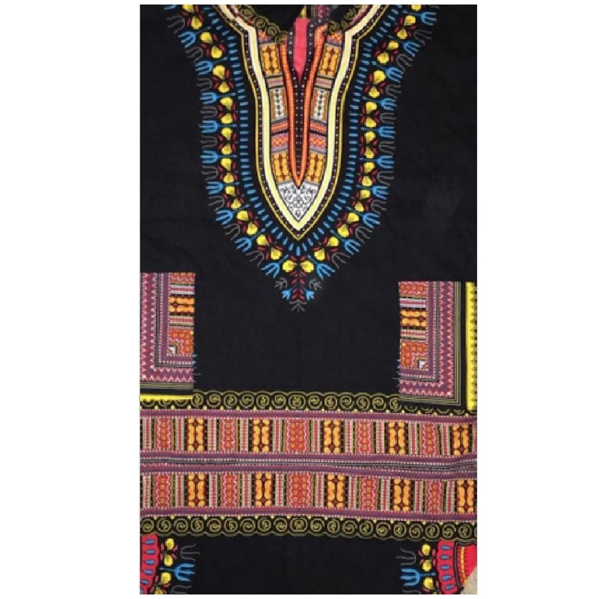 YUNY Men's African Printed Hood Mid Long Dashiki T-Shirt Top Tees Black L