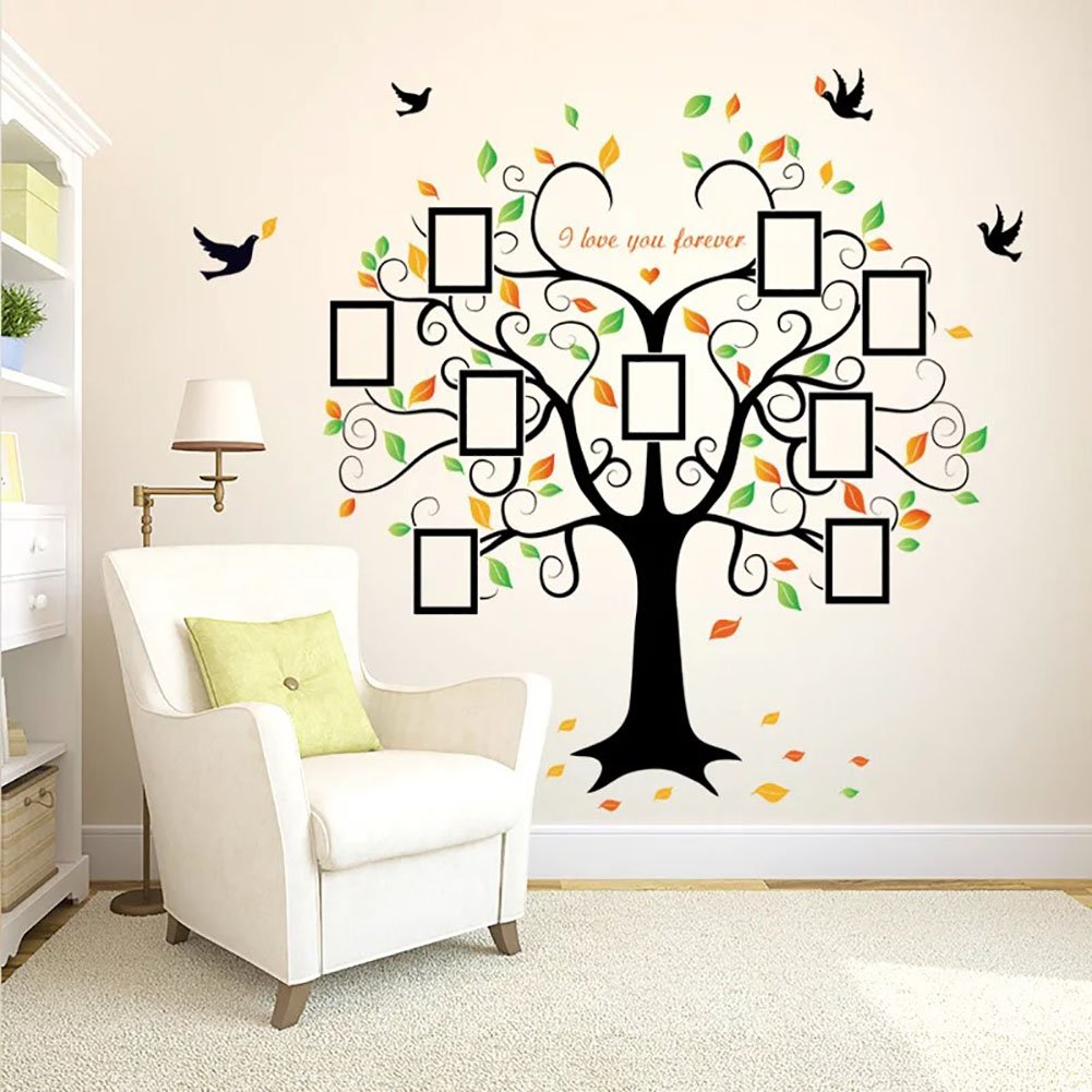 Giant family photo frame tree wall decal diy vinyl wall sticker wandsticker4u wall sticker large photo family tree effect picture 160 x 204 cm amipublicfo Image collections