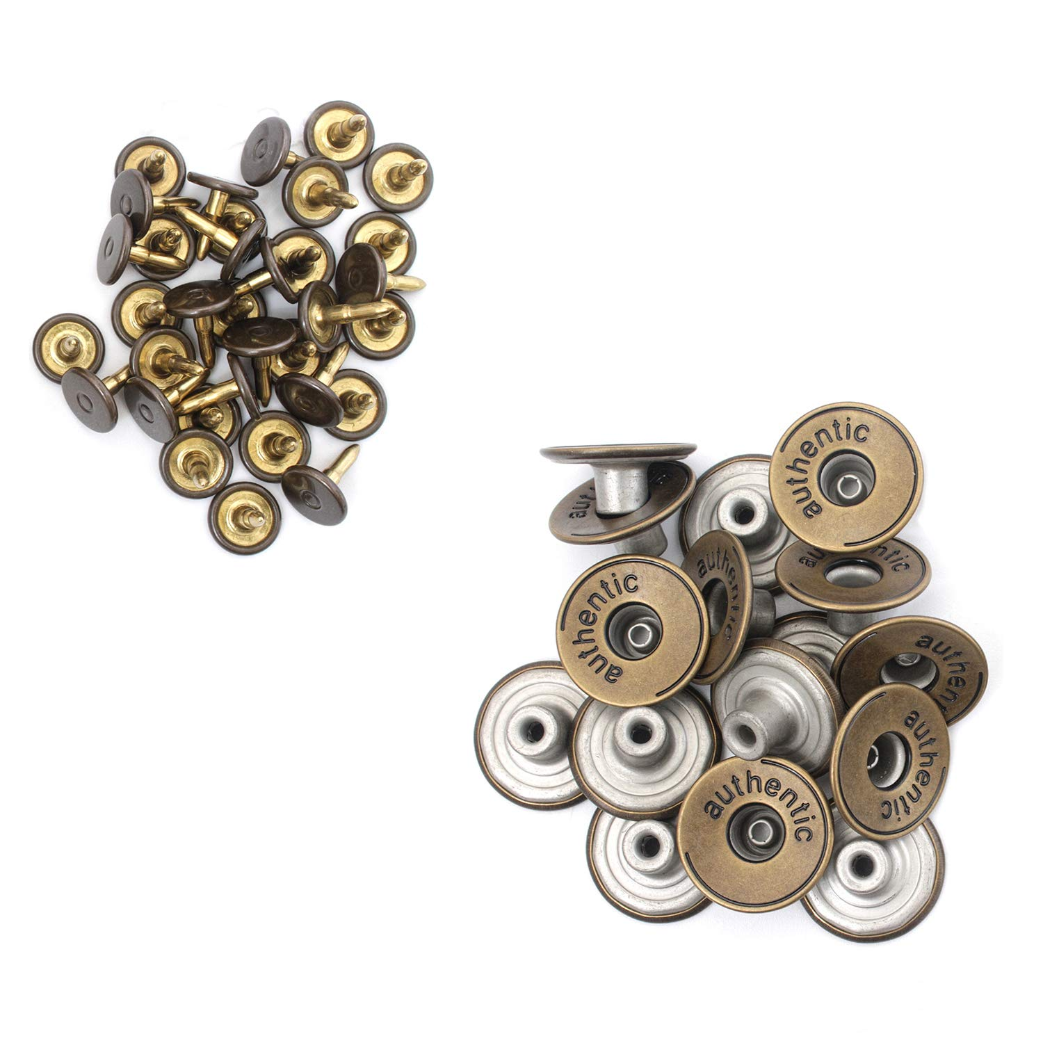 17mm Bronze Jeans buttons with Pins Clothing Repairing Denims Jacket Dark Bronze