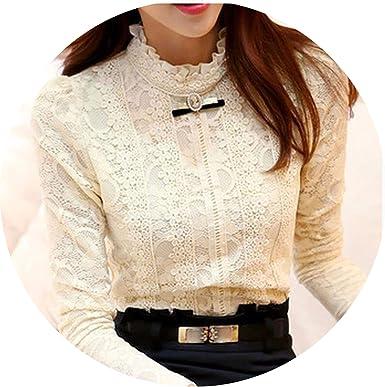 AMAZING AMAZING 2019 Blusas y Blusas de Mujer de Moda de Mujer Camisa de Ganchillo Blusa de Encaje Camisa Ropa 999 - Beige - X-Large: Amazon.es: Ropa y accesorios