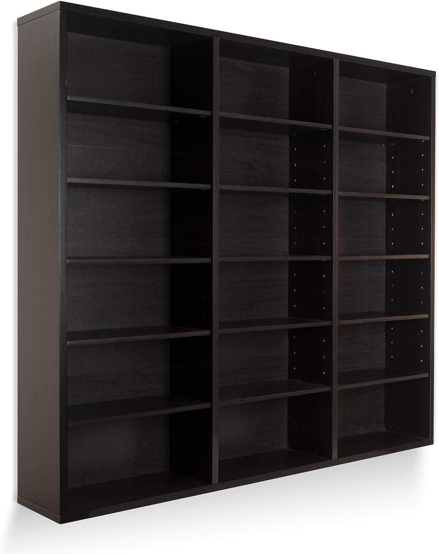 Atlantic Oskar 540 Wall Mounted Media Storage Espresso Cabinet