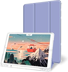 Aoub Case for iPad Air 10.5 inch 3rd Generation / iPad Pro 10.5, Auto Sleep/Wake Slim Lightweight Trifold Stand Cover, Soft TPU Back Case with Pencil Holder, Lavender