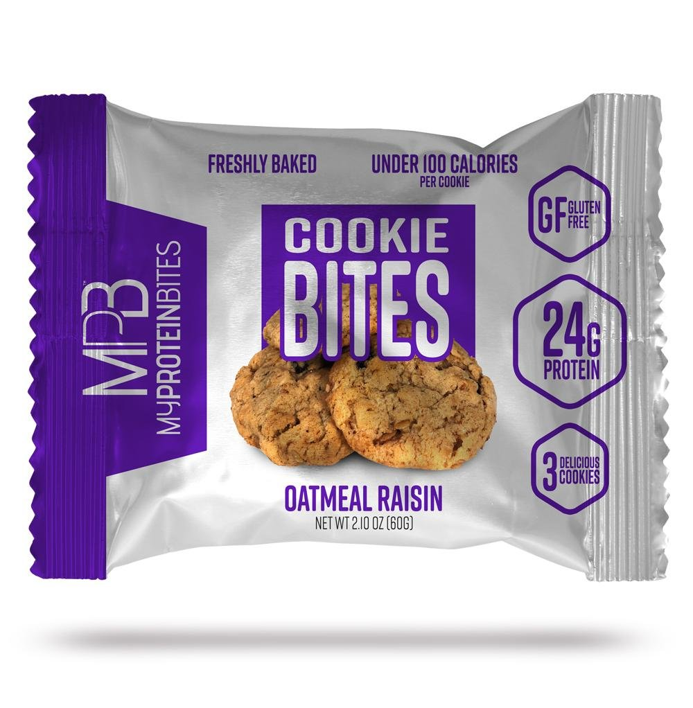 My Protein Bites | Protein Cookies | 24 Grams Of Protein, Low Carbs & Low Sugar | Gluten Free | (8 Packs of 3 Cookies (24 Cookies) Oatmeal Raisins Cookie) by MPB