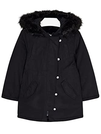 Mayoral 18-07484-049 - Duffle Coat with Fur for Girls 12 Years Black