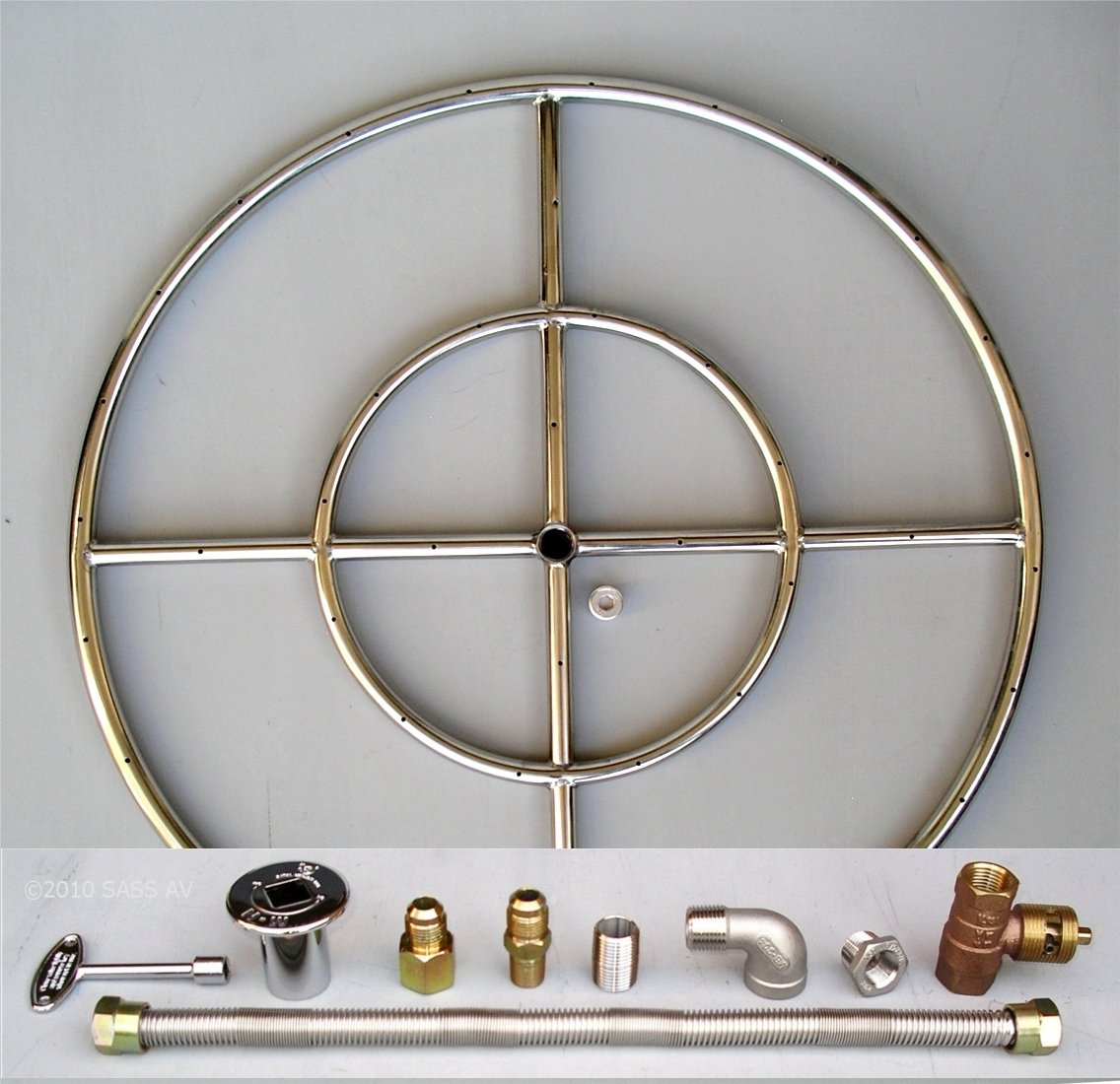 Fire Pit Ring 24 Double Stainless Steel Burner Kit with Connectors and Elbow Fireplace Glass San Diego R24KW-C