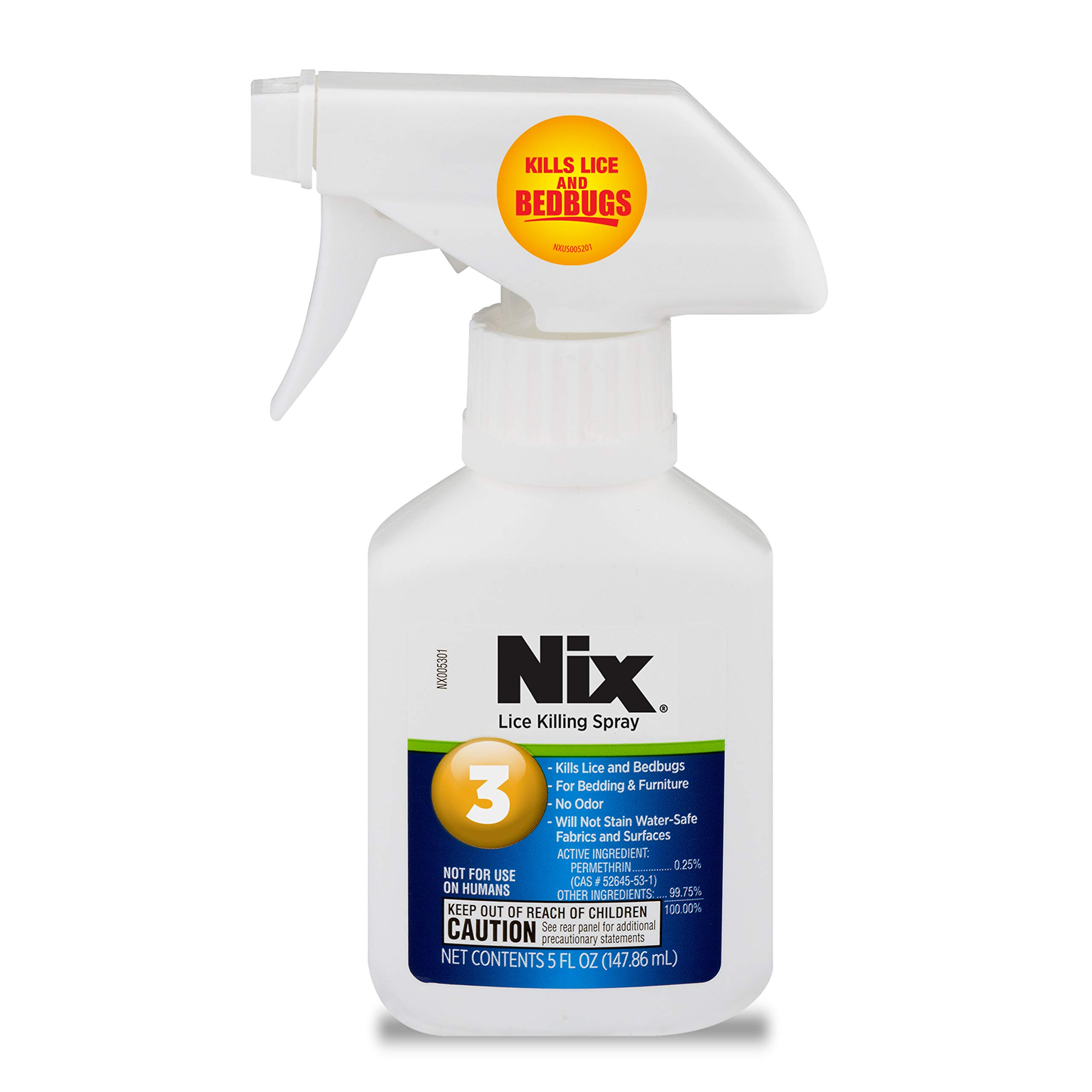 Nix Lice & Bed Bug Killing Spray for Home, Bedding & Furniture, Transparent, 5 Fl.Oz