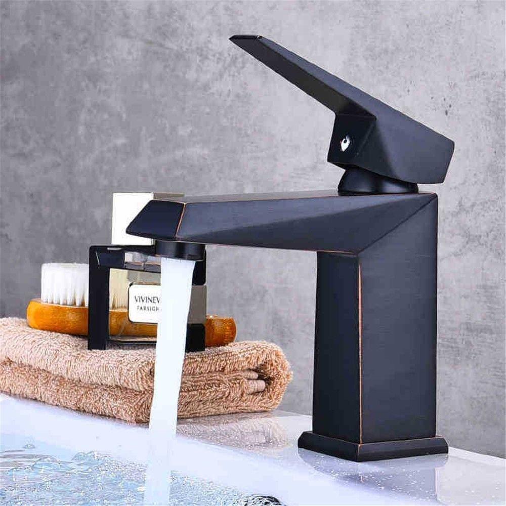 ANNTYE Waschtischarmatur Bad Mischbatterie Badarmatur Waschbecken Messing schwarz Heißes und Kaltes Wasser mit Einem Hebel Einlochmontage Badezimmer Waschtischmischer