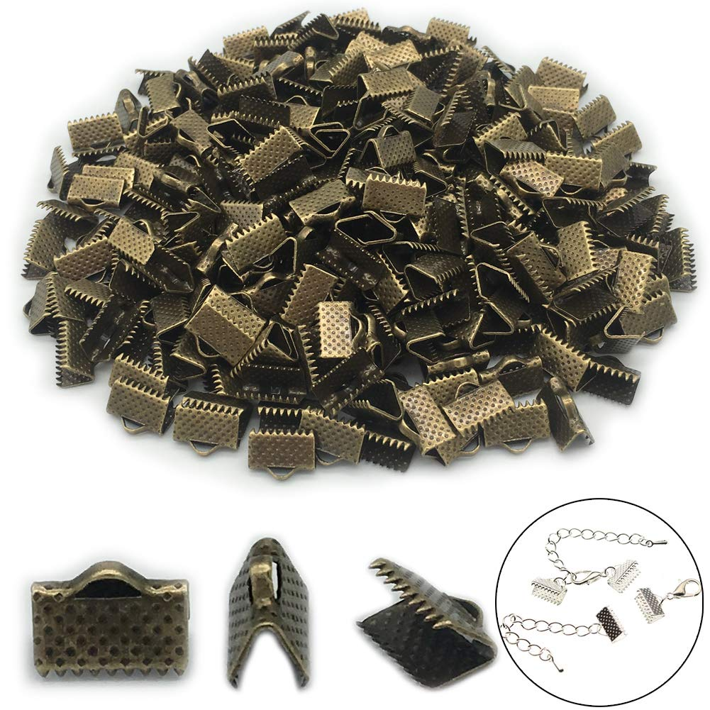 300 Pcs Ribbon Ends 10mm Fastener Kneading Clamp Ends Clasps Textured Crimp Ends(Bronze)
