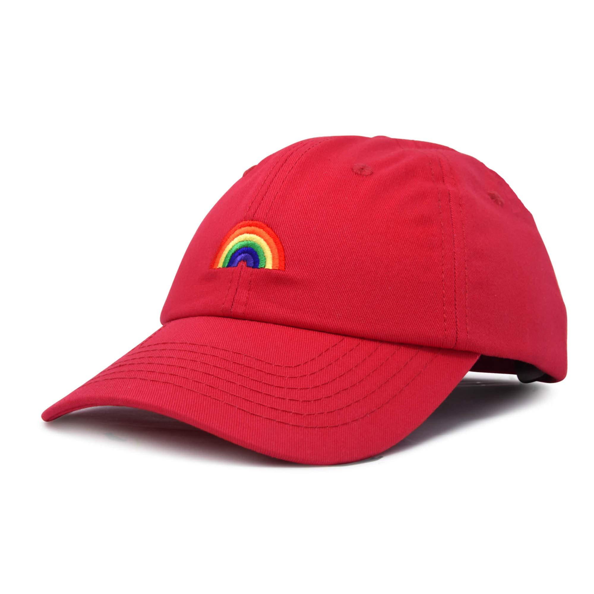 DALIX Rainbow Baseball Cap Womens Hats Cute Hat Soft Cotton Caps in Red