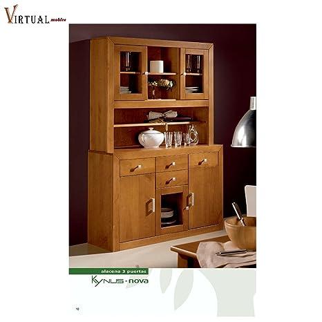 Credenza R-KYN 3 porte in legno, colore: ciliegio: Amazon.it ...