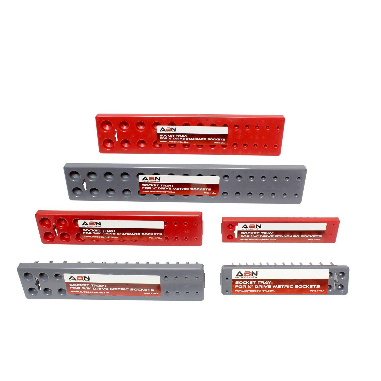 "ABN Socket Organizer Tray 6-Pack Socket Storage 1//8/"" to 1-1//4/"" Standard /& 4mm to 27mm Metric Socket Organizer Tray"