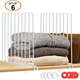 GIEMSON 6 Pack Metal Shelf Divider with 12 Clothing Size Dividers Round Hangers Closet Dividers(White)