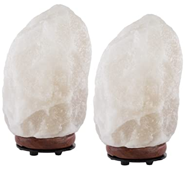 "Simply Genius (2 Pack) Himalayan Salt Lamps Lights, Electric 6"" Natural Crystal Salt Rock Lamp With Bulb & Cord, Air Purifier Night Light For Bedrooms, With Dimmer Switch"