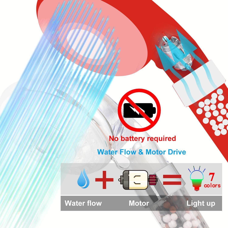 Licht Farbwechsel 7 Farbe automatic Mit einer Packung Mineralkugelersatz 3-Modus Hoher Druck Duschkopf Wassersparend Mit Filtrationssystem Entfernt Chlortoxine und Schadstoffe LED Duschkopf