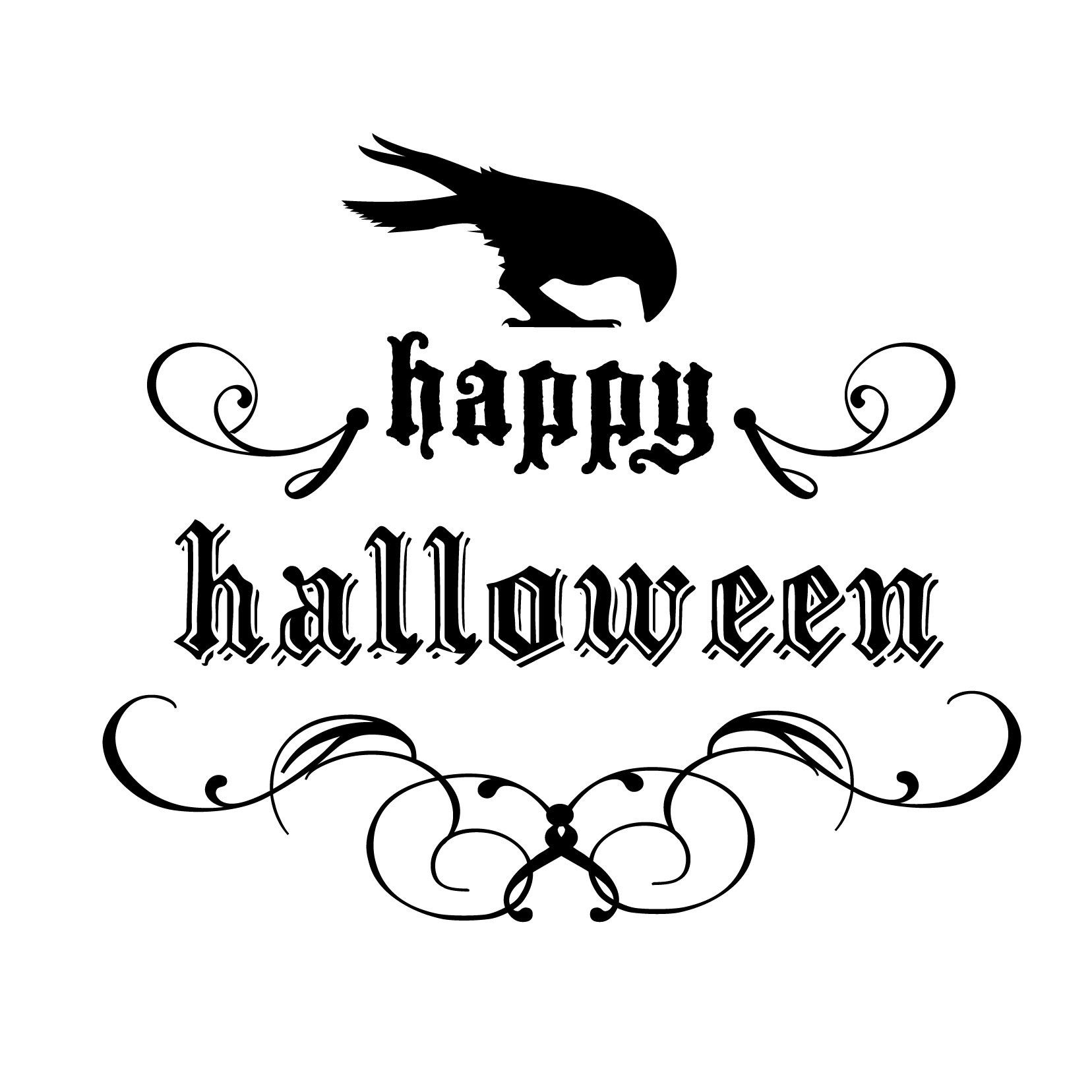 Elegant Happy Halloween Sign Gothic Swirls and Crow - Vinyl Wall Art Decal for Homes, Offices, Kids Rooms, Nurseries, Schools, High Schools, Colleges, Universities, Events