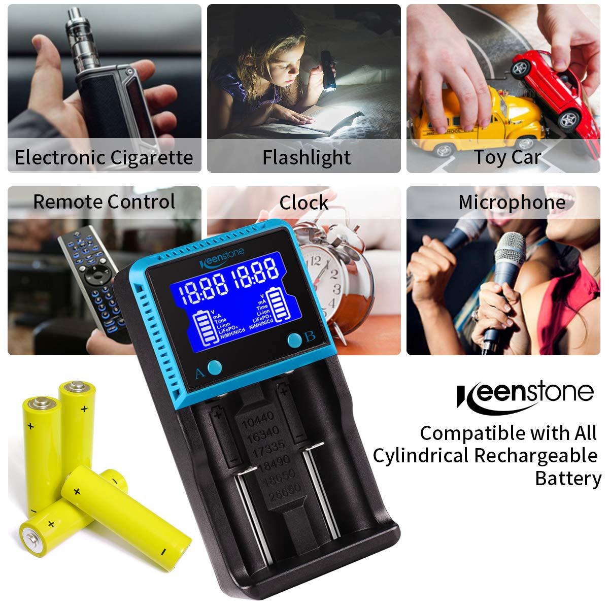 Caricabatteria universale, Keenstone 2 Slot Intellicharge con Display LCD, Adatto per batterie ricaricabili Ni-MH Ni-Cd AA AAA Li-ion LiFePO4 IMR 10440 14500 16340 18650 RCR123 26650