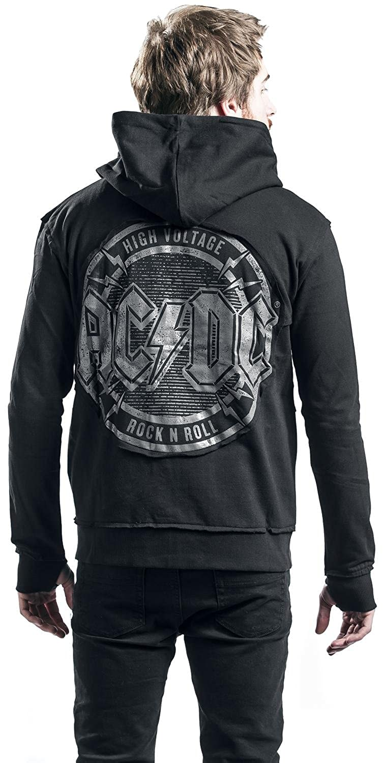 AC/DC High Voltage - Rock N Roll - Patched Sudadera capucha con cremallera Negro: Amazon.es: Ropa y accesorios