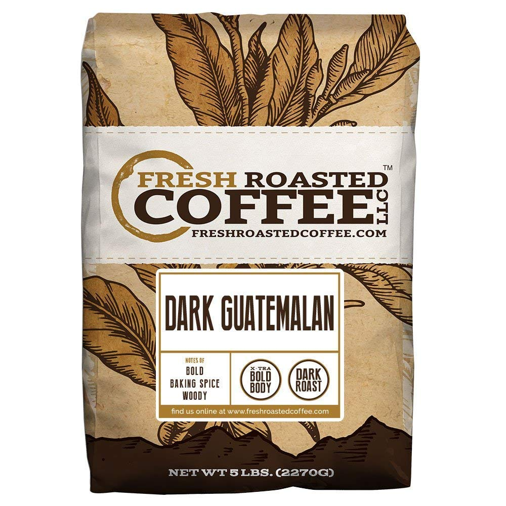 Fresh Roasted Coffee LLC, Dark Guatemalan Huehuetenango Coffee, Dark Roast, Whole Bean, 5 Pound Bag by FRESH ROASTED COFFEE LLC FRESHROASTEDCOFFEE.COM