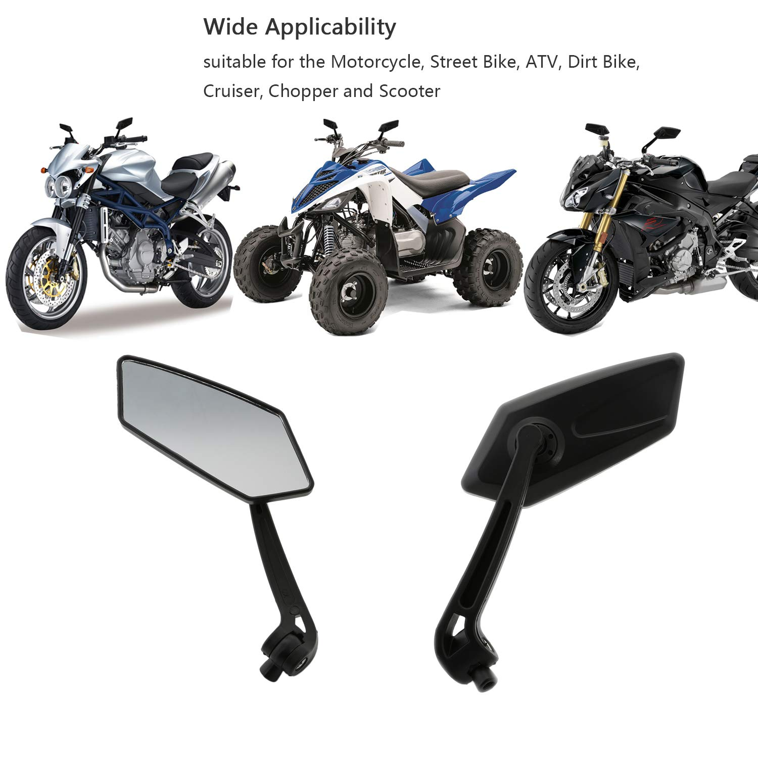 E MARKED PAIR MIRRORS BIKE MOTORCYCLE SCOOTER QUAD SPORTS RIGHT LEFT THREAD 8 10