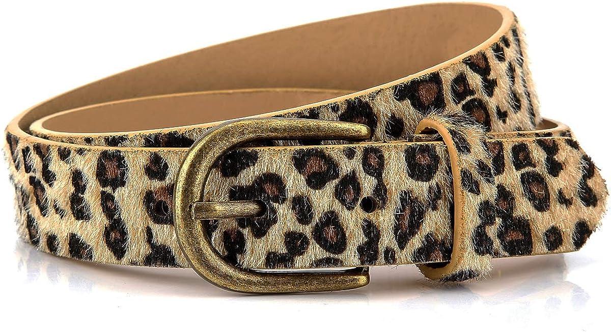 Womens Leopard Print Leather Belt for Jeans Pants Ladies Casual Waist Belt for Dresses
